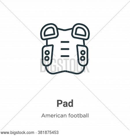 Pad icon isolated on white background from american football collection. Pad icon trendy and modern