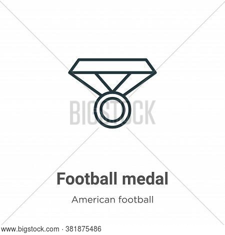 Football medal icon isolated on white background from american football collection. Football medal i