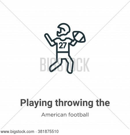 Playing throwing the ball in his hand icon isolated on white background from american football colle