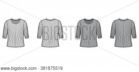 Ribbed Crew Neck Knit Sweater Technical Fashion Illustration With Elbow Sleeves, Oversized Body. Fla