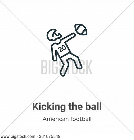 Kicking the ball icon isolated on white background from american football collection. Kicking the ba