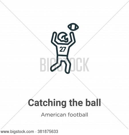Catching the ball icon isolated on white background from american football collection. Catching the