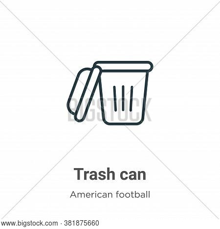 Trash can icon isolated on white background from american football collection. Trash can icon trendy