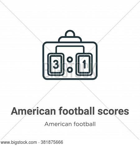 American football scores icon isolated on white background from american football collection. Americ