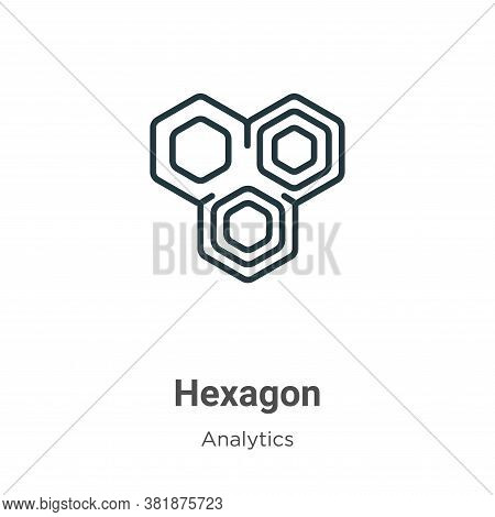 Hexagon icon isolated on white background from analytics collection. Hexagon icon trendy and modern