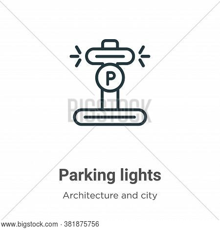Parking lights icon isolated on white background from architecture and city collection. Parking ligh