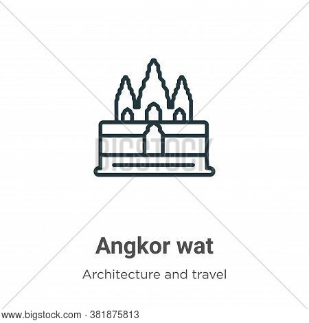 Angkor wat icon isolated on white background from architecture and travel collection. Angkor wat ico