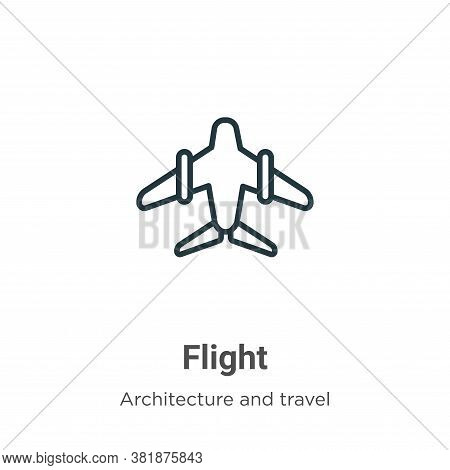 Flight icon isolated on white background from architecture and travel collection. Flight icon trendy