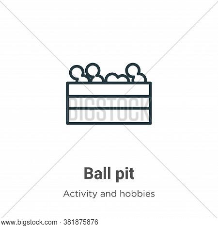 Ball pit icon isolated on white background from activity and hobbies collection. Ball pit icon trend