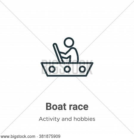 Boat race icon isolated on white background from activity and hobbies collection. Boat race icon tre