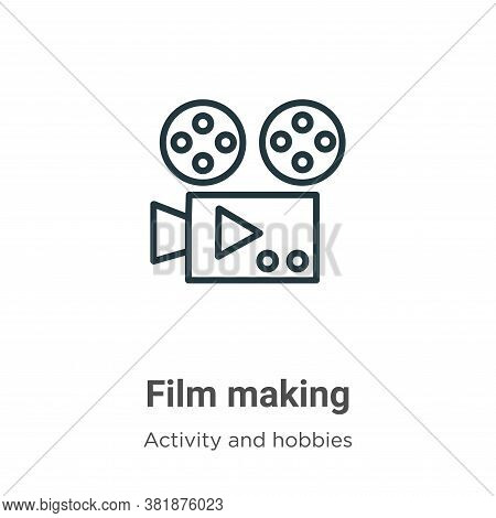 Film making icon isolated on white background from activity and hobbies collection. Film making icon
