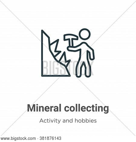 Mineral collecting icon isolated on white background from activity and hobbies collection. Mineral c