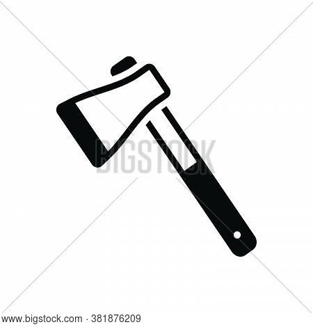 Black Solid Icon For Axe Hatchet Adze Chopper Calibrating Mattock Cut Wood Weapon Tool Equipment