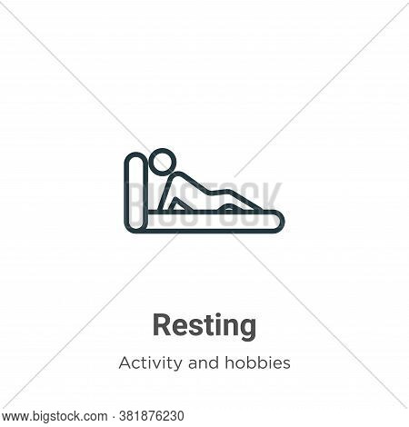 Resting icon isolated on white background from activity and hobbies collection. Resting icon trendy