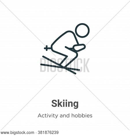 Skiing icon isolated on white background from activity and hobbies collection. Skiing icon trendy an