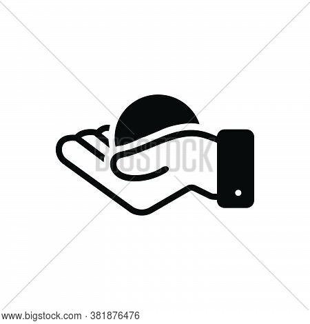 Black Solid Icon For Handful Grasp Hold Clutch Clasp Clench Grapple Ball