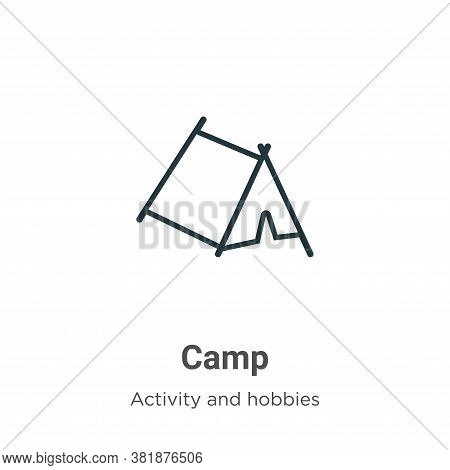 Camp icon isolated on white background from outdoor activities collection. Camp icon trendy and mode