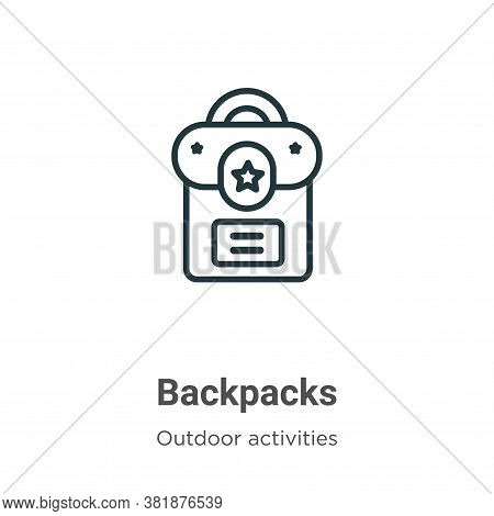 Backpacks icon isolated on white background from outdoor activities collection. Backpacks icon trend