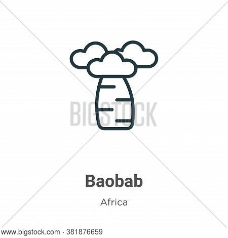 Baobab Icon From Africa Collection Isolated On White Background.