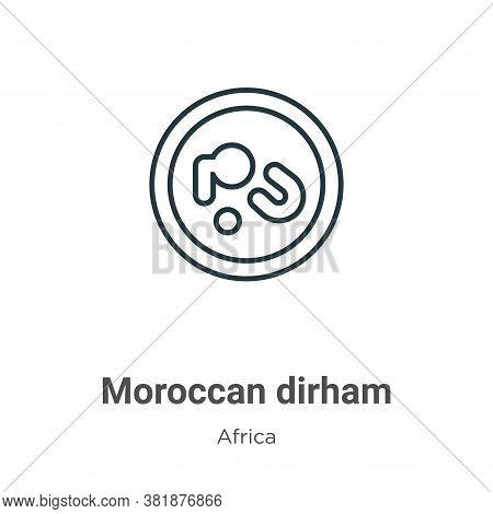 Moroccan dirham icon isolated on white background from africa collection. Moroccan dirham icon trend