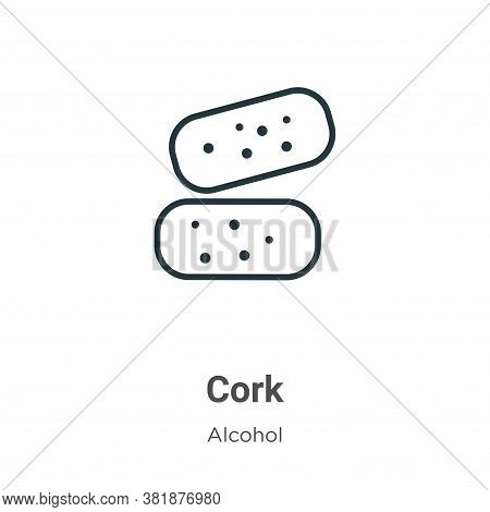 Cork icon isolated on white background from alcohol collection. Cork icon trendy and modern Cork sym