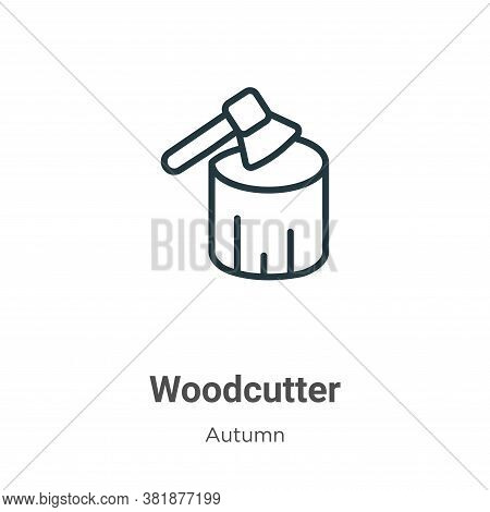 Woodcutter icon isolated on white background from autumn collection. Woodcutter icon trendy and mode