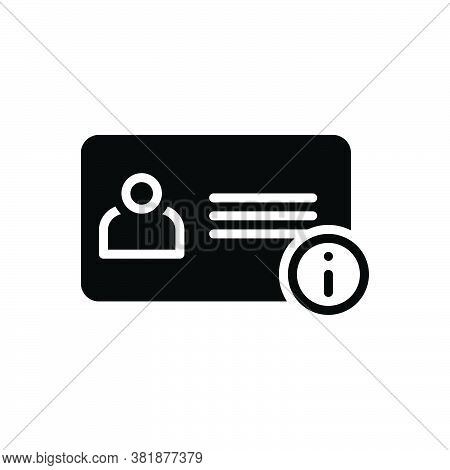 Black Solid Icon For Info Advice Instruction Card Enquiry Information Identify Identification