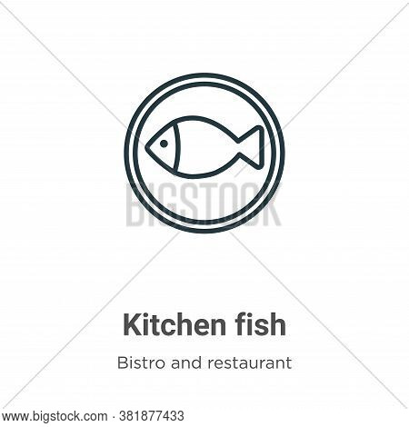 Kitchen fish icon isolated on white background from bistro and restaurant collection. Kitchen fish i
