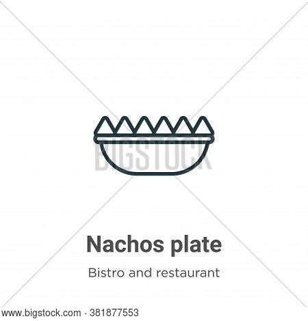 Nachos plate icon isolated on white background from bistro and restaurant collection. Nachos plate i