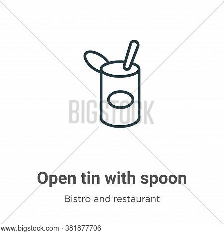 Open tin with spoon icon isolated on white background from bistro and restaurant collection. Open ti