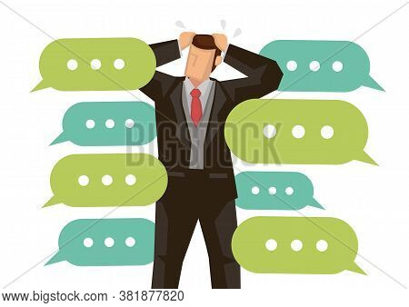 Businessman Gets Cyberbully From The Social Media Internet. Concept Of Social Media Problem, Cyberbu