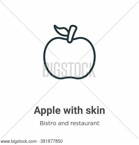 Apple with skin icon isolated on white background from bistro and restaurant collection. Apple with