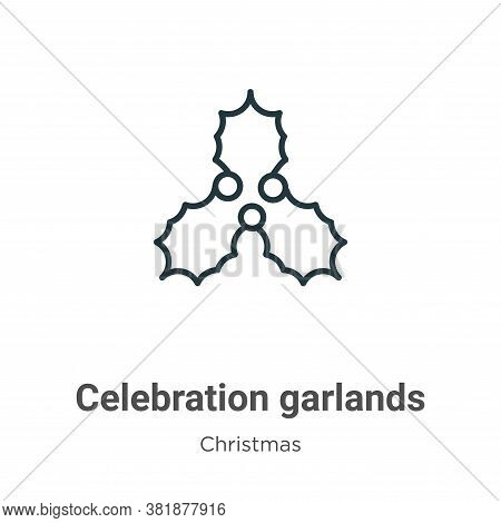 Celebration garlands icon isolated on white background from christmas collection. Celebration garlan
