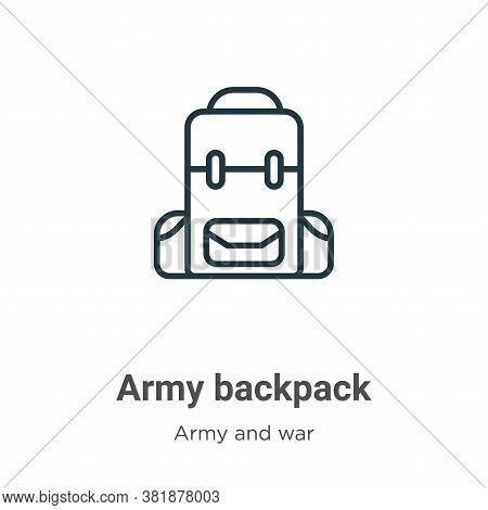 Army backpack icon isolated on white background from army and war collection. Army backpack icon tre
