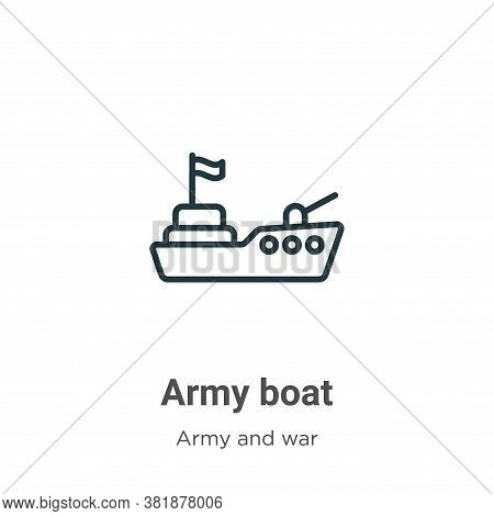 Army boat icon isolated on white background from army and war collection. Army boat icon trendy and