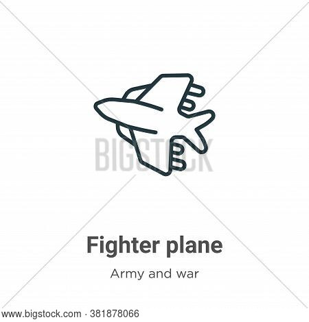Fighter plane icon isolated on white background from army and war collection. Fighter plane icon tre