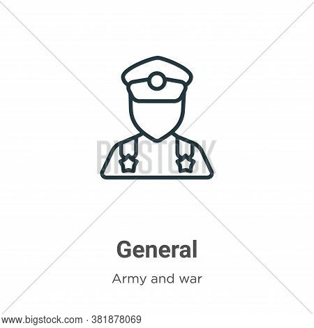 General icon isolated on white background from army and war collection. General icon trendy and mode