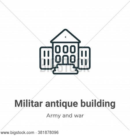 Militar antique building icon isolated on white background from army and war collection. Militar ant