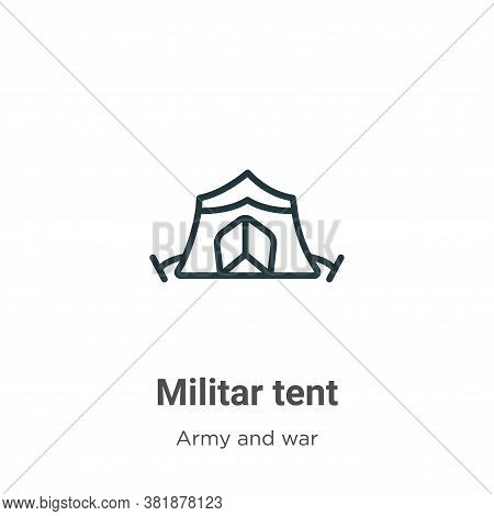 Militar tent icon isolated on white background from army and war collection. Militar tent icon trend