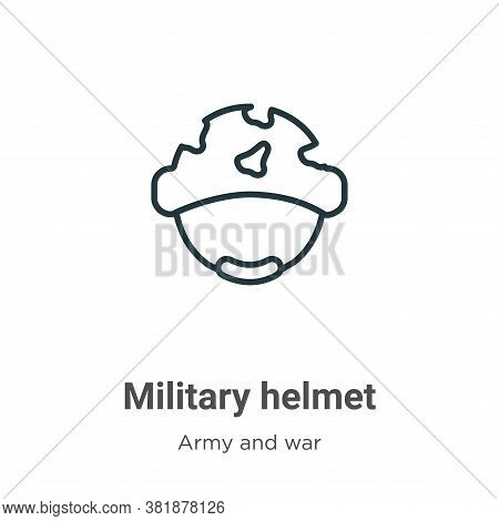 Military helmet icon isolated on white background from army and war collection. Military helmet icon