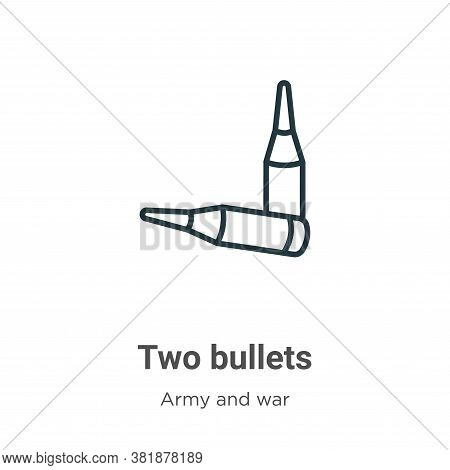 Two bullets icon isolated on white background from army and war collection. Two bullets icon trendy