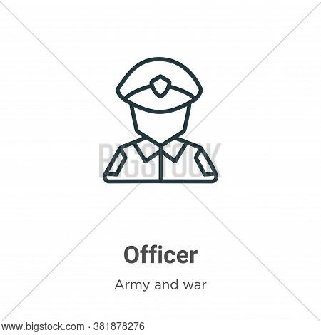 Officer icon isolated on white background from army and war collection. Officer icon trendy and mode