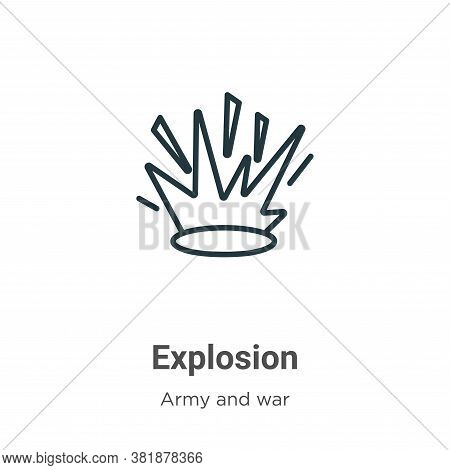 Explosion icon isolated on white background from army collection. Explosion icon trendy and modern E