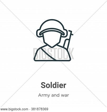 Soldier icon isolated on white background from army collection. Soldier icon trendy and modern Soldi