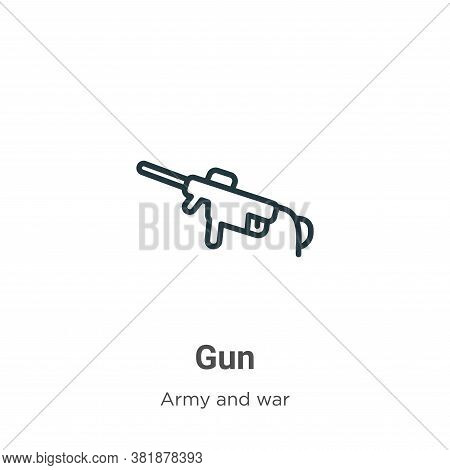 Gun icon isolated on white background from army collection. Gun icon trendy and modern Gun symbol fo