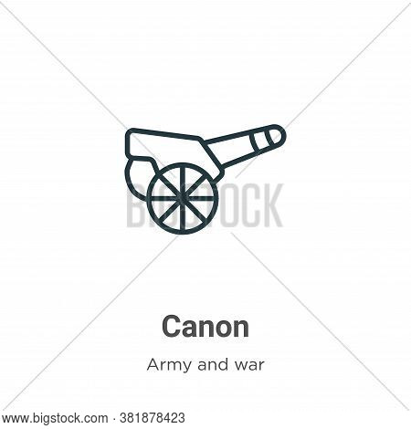 Canon icon isolated on white background from army collection. Canon icon trendy and modern Canon sym