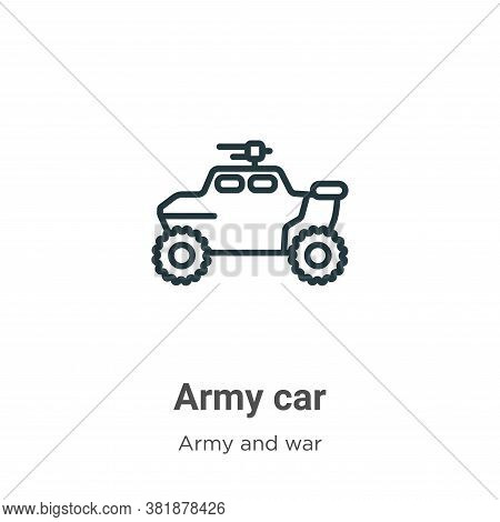 Army car icon isolated on white background from army collection. Army car icon trendy and modern Arm