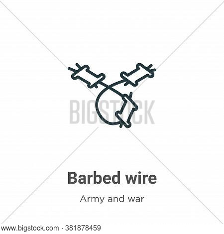 Barbed wire icon isolated on white background from army collection. Barbed wire icon trendy and mode