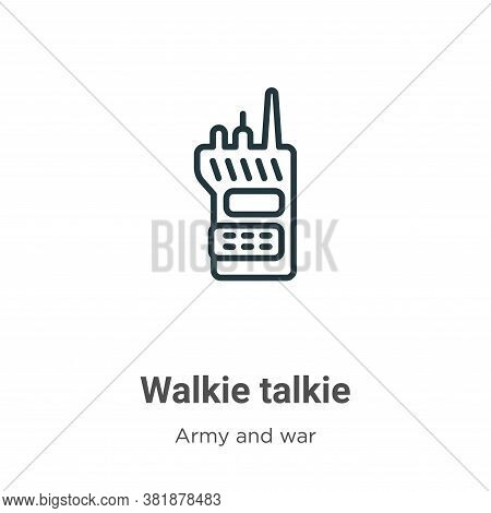 Walkie talkie icon isolated on white background from army collection. Walkie talkie icon trendy and