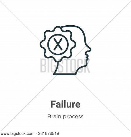 Failure icon isolated on white background from brain process collection. Failure icon trendy and mod